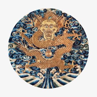 Broderie dragon vintage