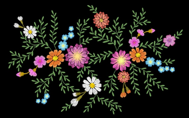 Broderie fleur daisy gerbera herbe autocollant patch mode impression textile