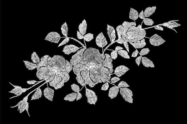 Broderie fleur rose blanche fleur sauvage dogrose bruyère patch.
