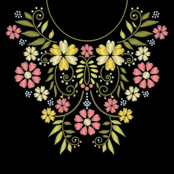 Broderie de ligne de cou avec illustration de motif de fleur