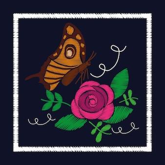 Broderie de roses et ornement de papillon pour le motif floral