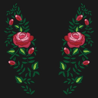 Broderie de roses rouges et de feuilles sur fond noir. design de mode pour t-shirt.