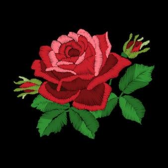 Broderie de roses rouges sur fond noir, imitation point de satin,.