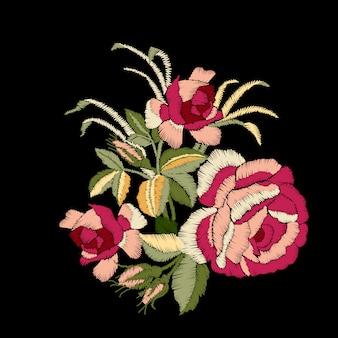 Broderie de roses rouges sur fond noir