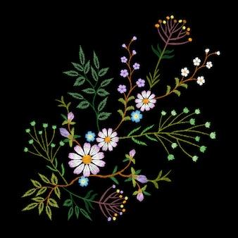 Broderie tendance motif floral petites branches marguerite aux herbes