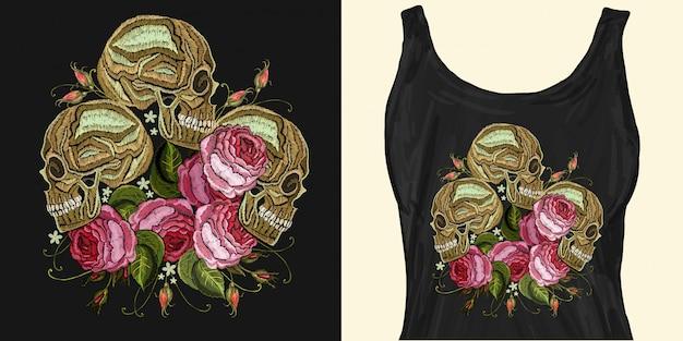 Broderie trois crânes et fleurs roses