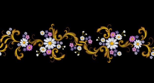 Broderie de vecteur réaliste mode frontière sans couture marguerite de fleur d'or
