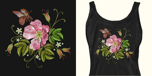 Broderie vintage roses sauvages et papillon