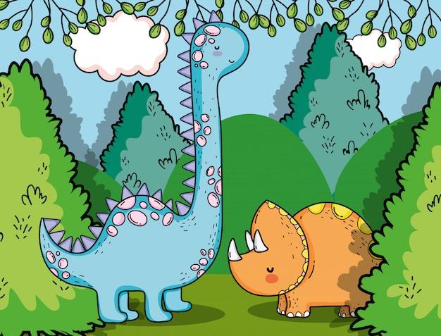 Brontosaure avec animaux dino préhistoriques tricératops