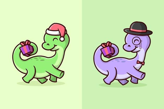 Brontosaurus vert et violet apporte un petit cadeau de chritsmas