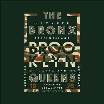 Le bronx avec un design de typographie camouflage