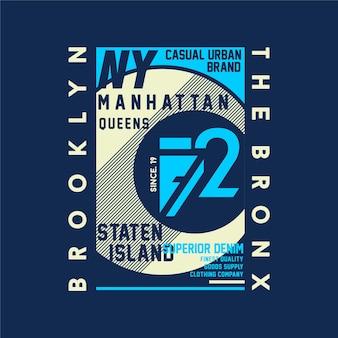 Brooklyn, le bronx, typographie de conception de t-shirt graphique abstrait