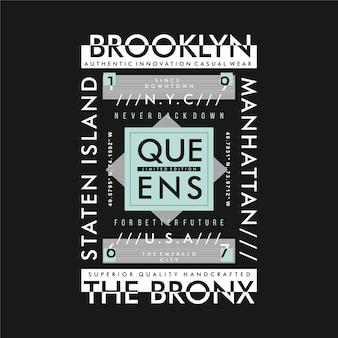 Brooklyn, reines, l'illustration vectorielle de bronx typographie graphique