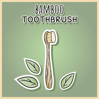Brosse à dents en bambou en matériau naturel.