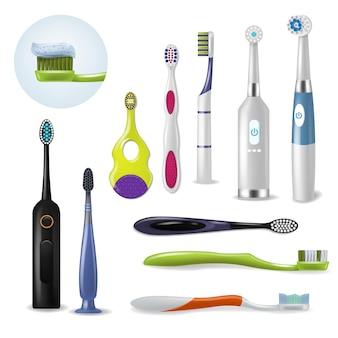 Brosse à dents brosse à dents hygiène dentaire pour le brossage des dents avec dentifrice illustration ensemble de dentisterie d'outil brossé réaliste isolé sur fond blanc