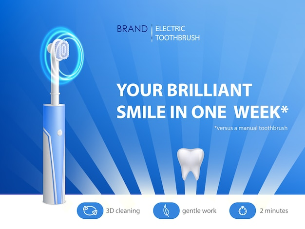 Brosse à dents réaliste 3d sur affiche publicitaire. bannière promotionnelle avec produit d'hygiène.