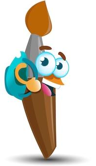 Brosse heureuse mignonne avec le personnage de mascotte de dessin animé de sac à dos