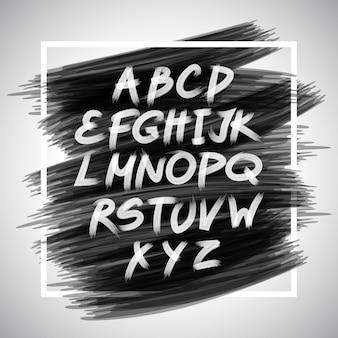 Brosse manuscrite de vecteur. lettres blanches isolées sur fond noir.
