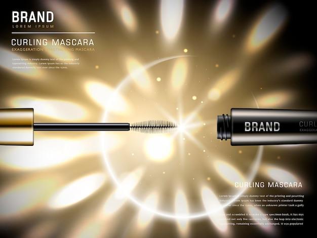 Brosse à mascara illustration 3d et son récipient avec des lumières dorées brillantes sur le fond