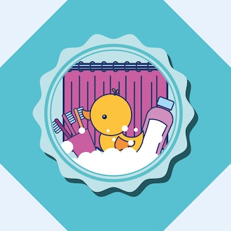 Brosses à dents de canard en caoutchouc et shampoing