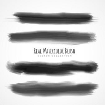 Brosses réelle aquarelle noir serti