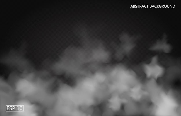 Brouillard blanc ou fumée sur fond transparent foncé. ciel nuageux ou smog. illustration