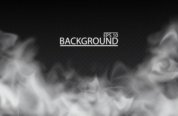 Brouillard blanc ou fumée sur fond transparent isolé illustration de ciel nuageux smog