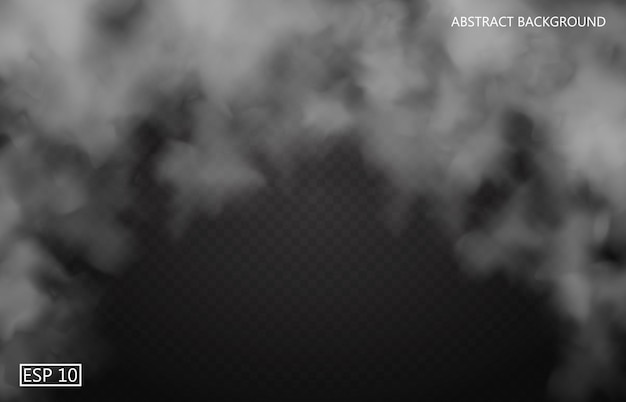 Brouillard blanc ou fumée sur fond transparent isolé sombre. ciel nuageux ou smog. illustration