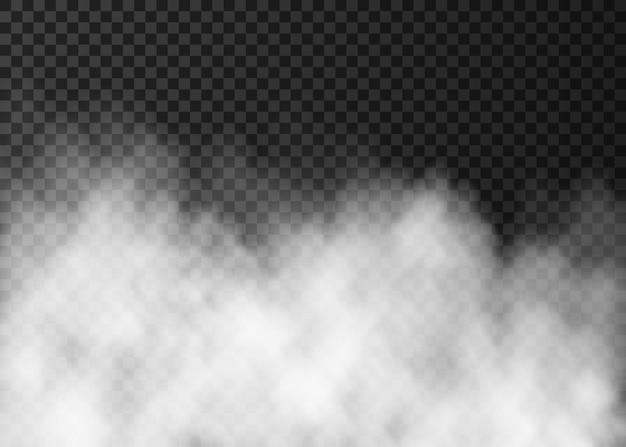 Brouillard blanc isolé sur fond transparent foncé