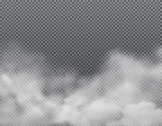 Brouillard blanc ou nuages sur fond transparent