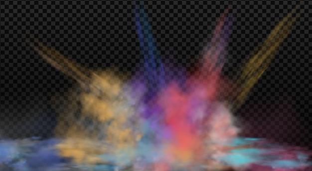 Brouillard coloré, fumée tourbillonnante d'encre isolée, effet spécial transparent.