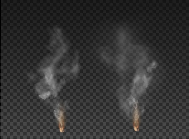 Brouillard et explosion de fumée isolé sur fond transparent.