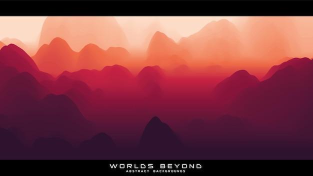 Brouillard sur les montagnes. panorama paysager.