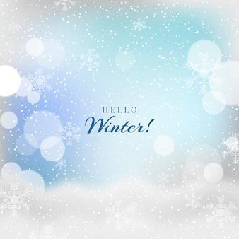 Brouillé beau lettrage d'hiver bonjour