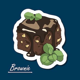 Brownie dessiné à la main.