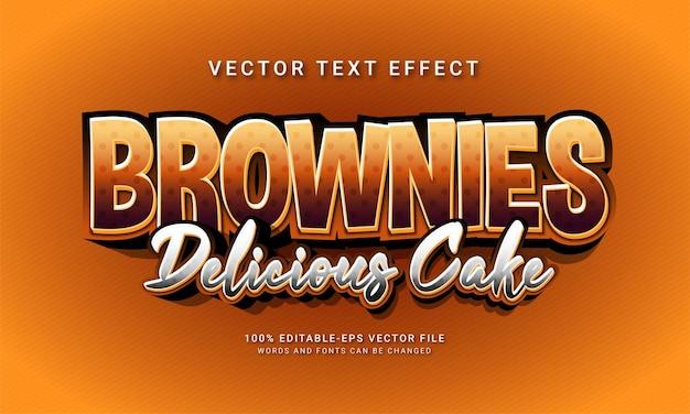 Brownies délicieux gâteau modifiable effet de style de texte sur le thème des aliments sucrés menu