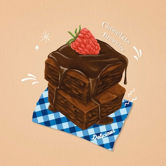 Brownies sucrés dessinés à la main