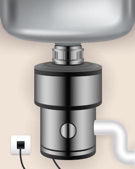 Broyeur de déchets alimentaires réaliste installé dans l'évier de cuisine et connecté à une prise électrique
