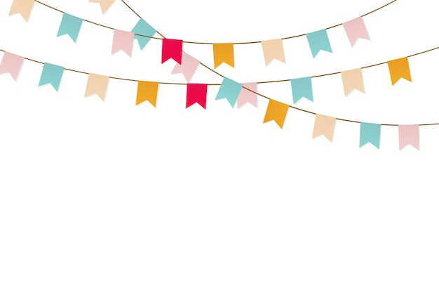 Bruant coloré et guirlande. guirlande de carnaval avec des drapeaux