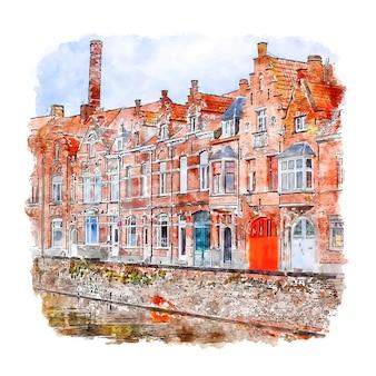 Bruges belgique aquarelle croquis illustration dessinée à la main