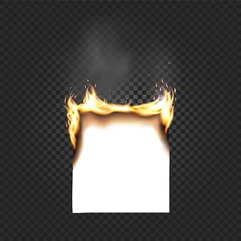Brûler des bords a4 de feuille de papier gros plan isolé sur fond quadrillé noir