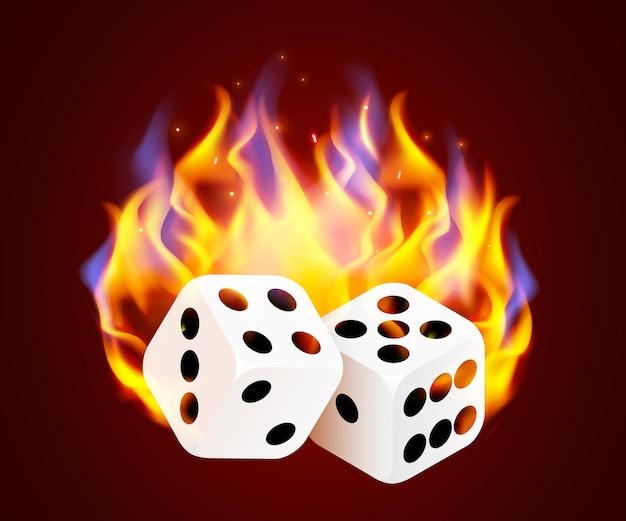Brûler des dés de casino. jeu de feu de casino chaud.