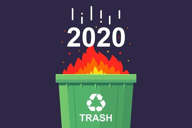 Brûler dans la poubelle 2020. plat