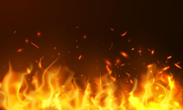 Brûler des étincelles chaudes rouges flammes de feu réaliste fond abstrait