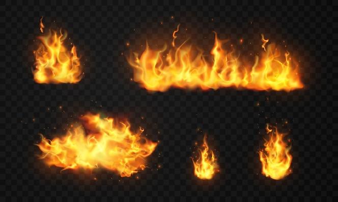 Brûler des étincelles chaudes et rouges