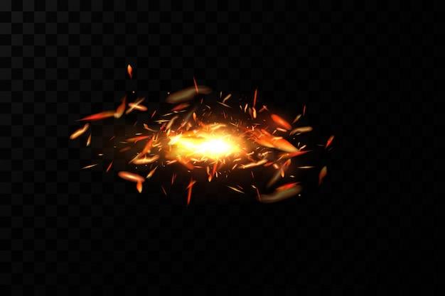 Brûler des étincelles de feu sur fond transparent