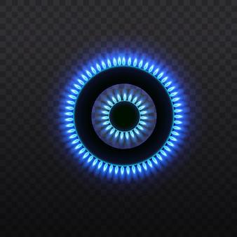 Brûleurs à gaz, flamme bleue, vue de dessus sur fond transparent