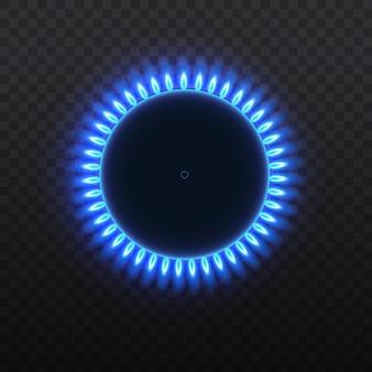 Brûleurs à gaz, flamme bleue, vue de dessus isolée sur fond transparent.