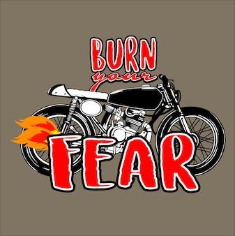 Brûlez votre vecteur d'illustration moto peur