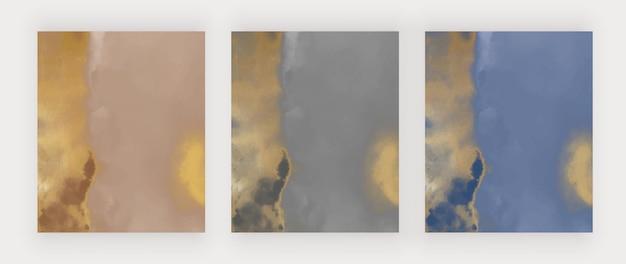 Brun noir et bleu avec texture aquarelle dorée